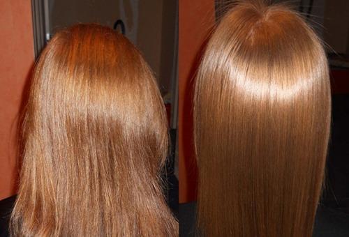Волосы до и после глазирования