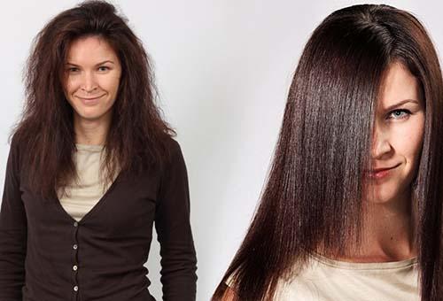 Волосы до и после домашнего ламинирования