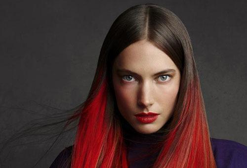 Окрашивание кончиков волос в красный цвет