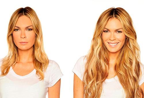 Волосы до и после наращивания трессами
