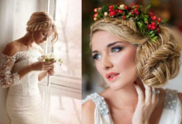 Популярные свадебные прически с плетением для длинных волос с челкой