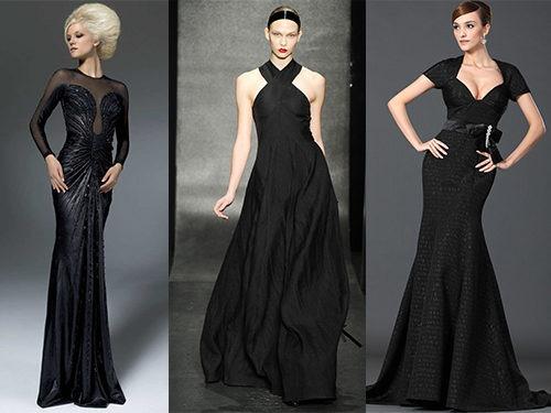Варианты причесок с черным длинным платьем