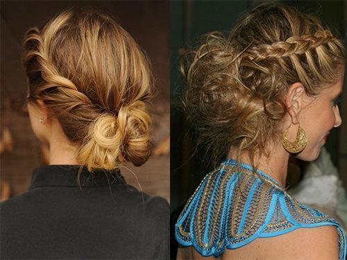 французская и вывернутая коса на волосах до плеч