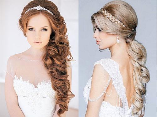 Свадебная прическа в греческом стиле на длинных волосах с диадемой