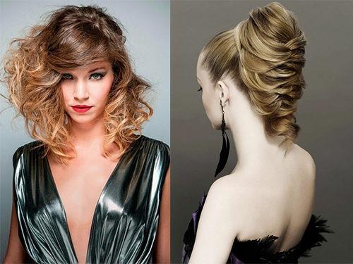 Стильные прически на средние волосы к образу в вечернем длинном платье