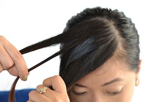 "Плетение ""Водопада"" на волосах с челкой"