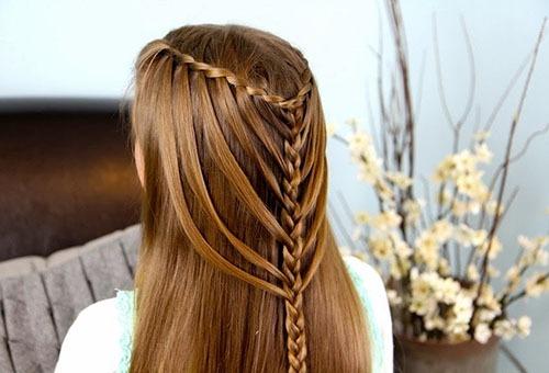 """Вариация прически """"Французский водопад"""" на прямых волосах"""