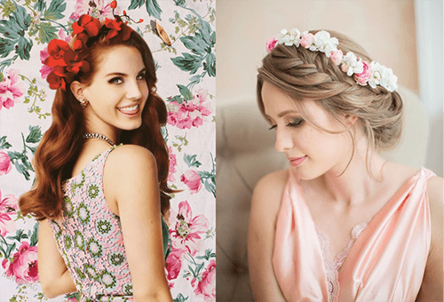 Венки с цветами в волосах