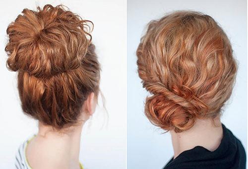 Пучок на кудрявых волосах