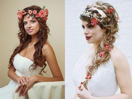 Цветы в свадебной греческой прическе