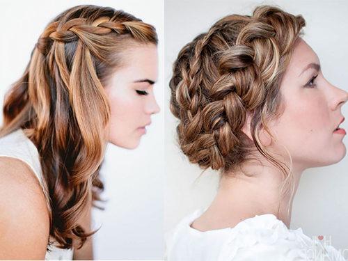 Способ плетения водопад и вывернутая коса на волосах средней длины
