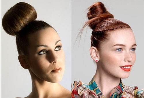 Пучок и бублик - два варианта укладки волос