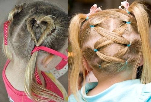 Сердечки и корзинка из волос для девочки 3-5 лет