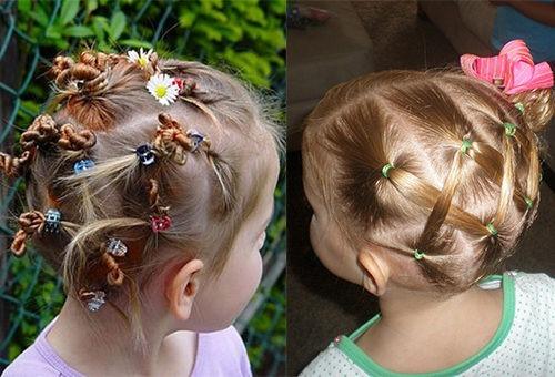 Разноцветные заколочки и бантики в прическах девочек 3-5 лет