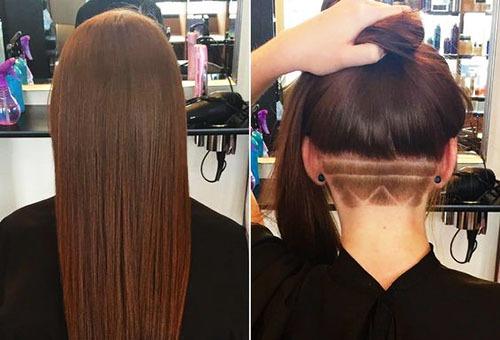 Выбритый затылок с рисунком при длинных волосах