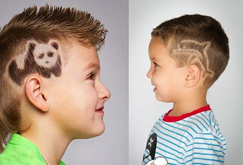 Выбритые рисунки на висках у мальчиков