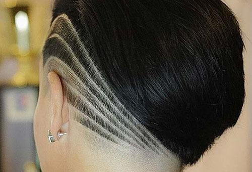 Женская стрижка с выбритыми полосами