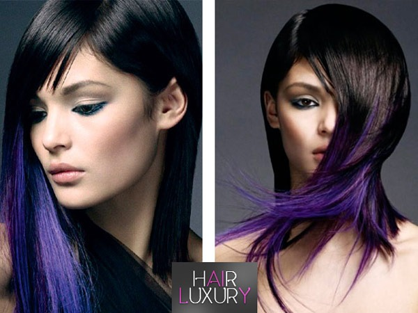 Цветные пряди на темных волосах