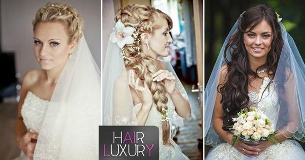 Свадебные причёски с фатой на длинные волосы