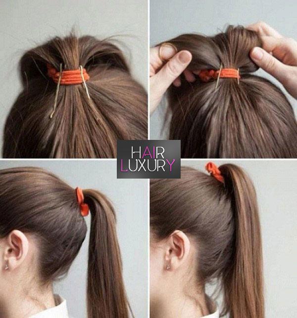 Красивый хвост на средние волосы