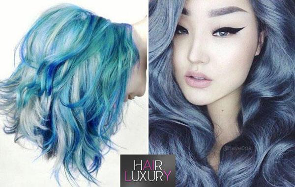 Синий цвет волос: техник окрашивания, фото